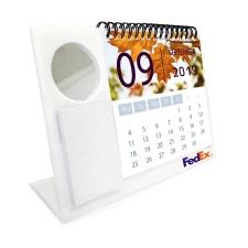 לוח שנה עם מראה עגולה ודפי ממו לבנים